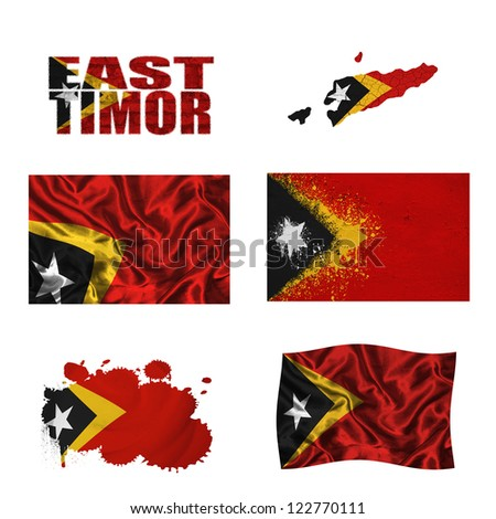 East Timor flag and map in different styles in different textures