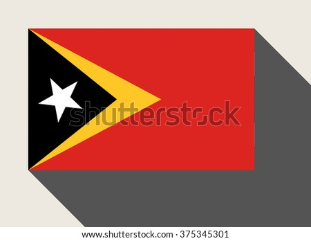 East Timor flag in flat web design style. - stock photo