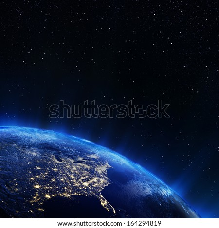 East USA from space. Elements of this image furnished by NASA - stock photo