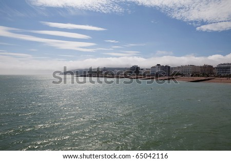 Eastbourne town seen from sea towards beach and promenade. seaside resort in England