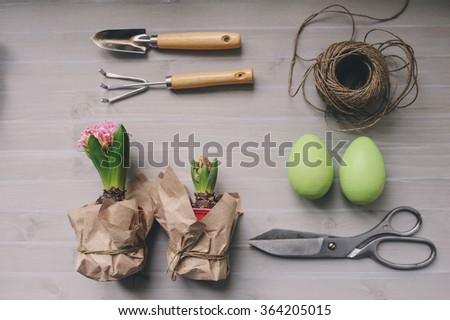 Easter and spring preparations. Hyacinth, eggs and garden tools on table, top view. Selective focus, cozy home interior. - stock photo