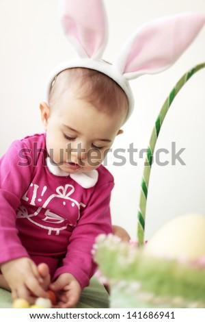 Easter baby rabbit - stock photo