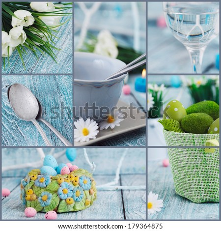 Easter background. Easter holiday collage. Easter table setting with colorful eggs, tulips and decoration - stock photo