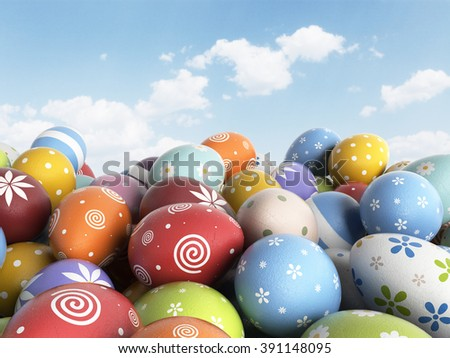 Easter background filled colorful eggs. 3D illustration - stock photo