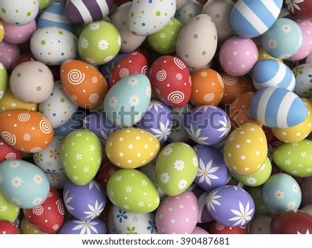 Easter background filled with colorful eggs. 3D illustration - stock photo