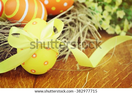 Easter background in blurred vintage style.