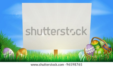 Easter background sign in middle of field with Easter eggs and basket - stock photo