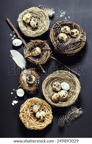 Easter background with eggs and nests - stock photo