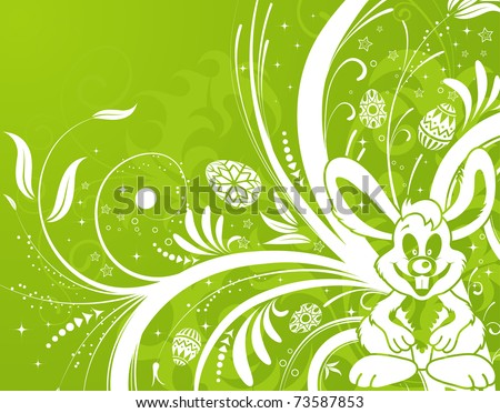 Easter background with ornament eggs, rabbit and flower, element for design, illustration
