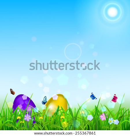 Easter background with sky, sun, grass, easter eggs, flowers and butterflies