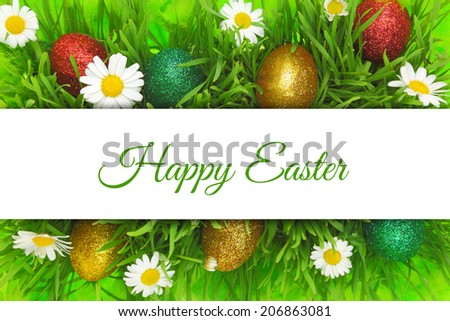 Easter banner with grass,flowers and painted eggs - stock photo