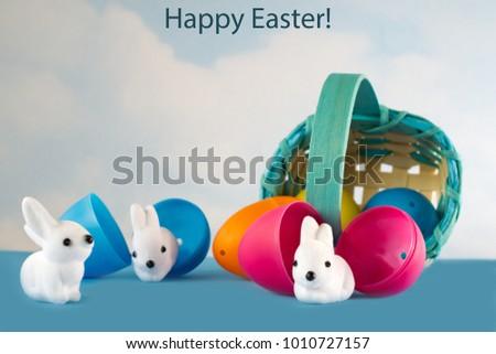 Easter Basket Filled Plastic Eggs Rolls Stock Photo 100 Legal