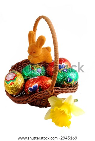 Easter basket isolated on white background