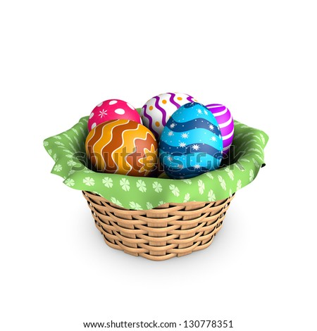 Easter basket isolated on white (3D render) - stock photo