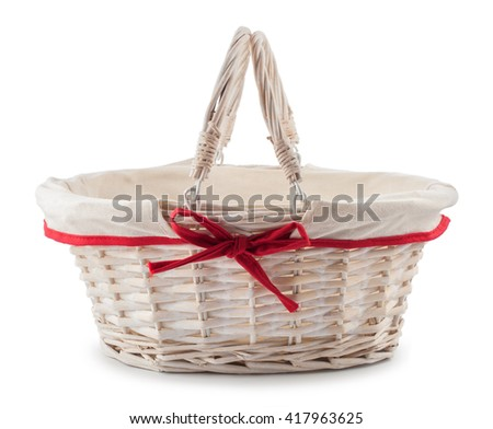 Easter basket on a white background isolated. - stock photo