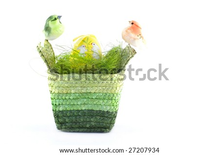 Easter basket with birds and egg isolated on white