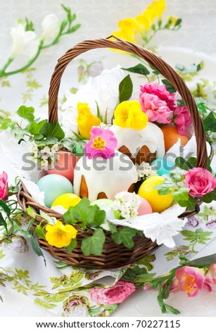 Easter basket with  eggs,cake and flowers