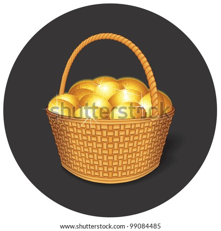 Easter Basket with Golden Eggs - stock photo