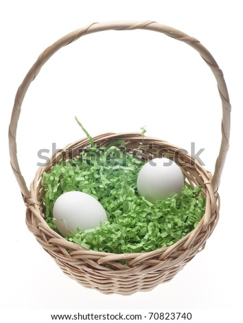 Easter Basket with Grass and Two White Eggs Isolated on White with a Clipping Path. - stock photo