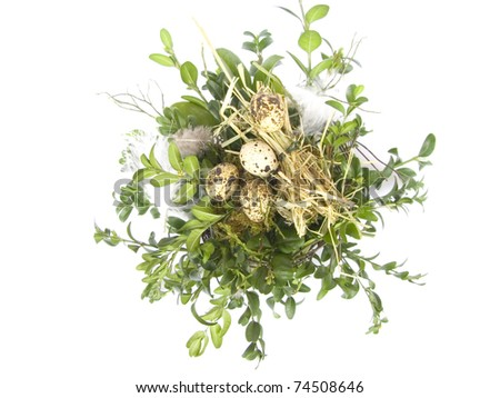 easter basket with quail eggs isolated on white background - stock photo