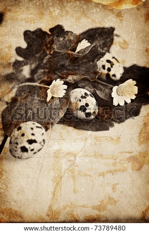 Easter bird eggs on grunge texture notebook background with flowers - stock photo