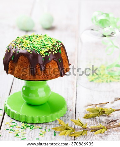 Easter bread with chocolate decorated with colored sugar.selective focus. - stock photo
