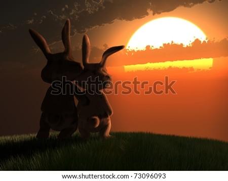 easter bunnies - stock photo