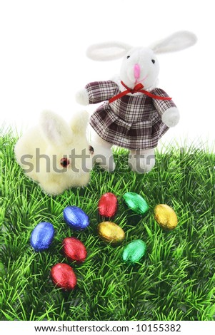 Easter Bunnies on Grass