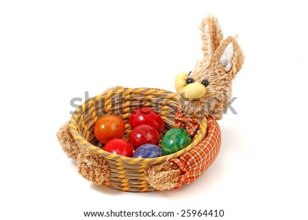 Easter bunny and eggs - stock photo