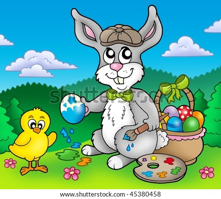 Easter bunny artist and chicken - color illustration.