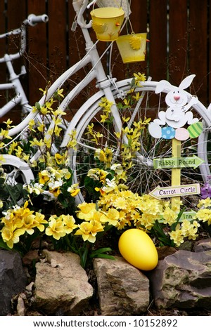 Easter Bunny Bicycle Vertical - stock photo