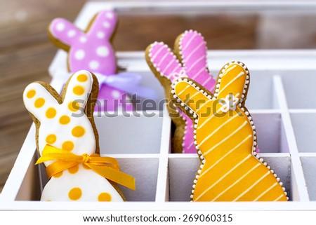Easter bunny cookies - stock photo