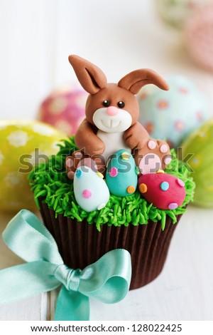 Easter bunny cupcake - stock photo