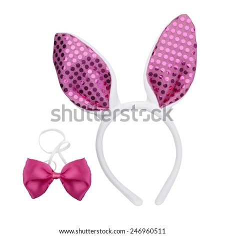 Easter Bunny Ears and pink bow tie isolated on white background - with PS paths. - stock photo