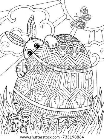 Easter Bunny Egg Hunt Adult Coloring Page