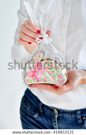 Easter Bunny Gingerbread Cookie - stock photo