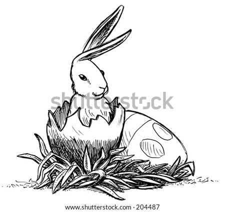 Easter Bunny hatches from an Easter egg - stock photo