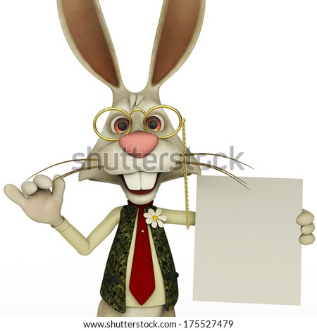 easter bunny holding a blank page close up - stock photo