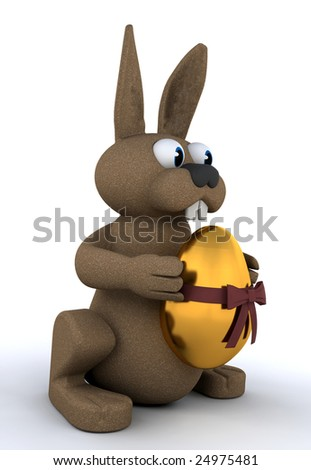 Easter bunny holding a golden egg