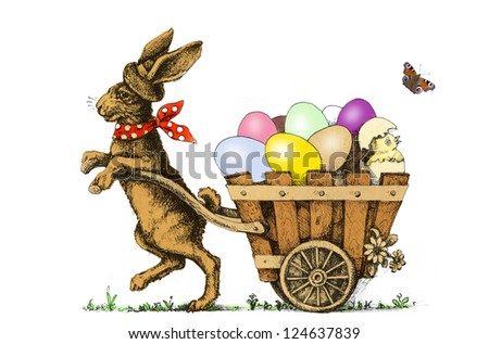 Easter bunny pulling a cart with Easter Eggs - stock photo