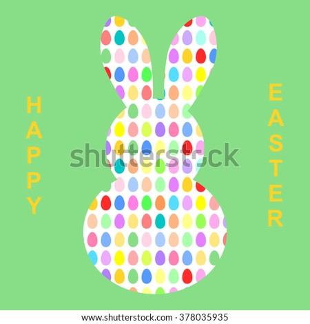 Easter bunny shaped from colorful Easter eggs with Happy Easter lettering