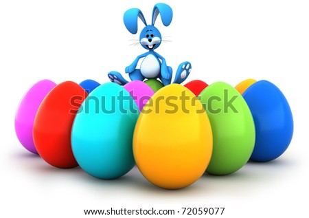 Easter bunny sitting on Easter eggs
