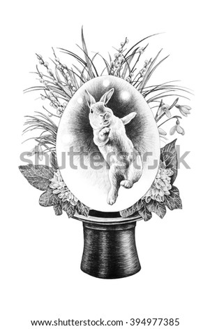 Easter bunny - with a hat trick. T-shirt design. Pencil drawing illustration. - stock photo