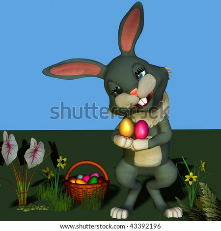 Easter-bunny with colored eggs - stock photo