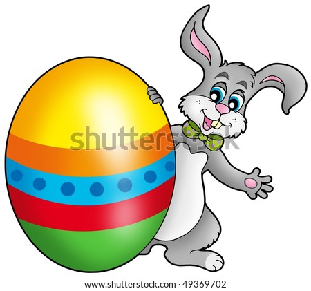 Easter bunny with colorful egg - color illustration.