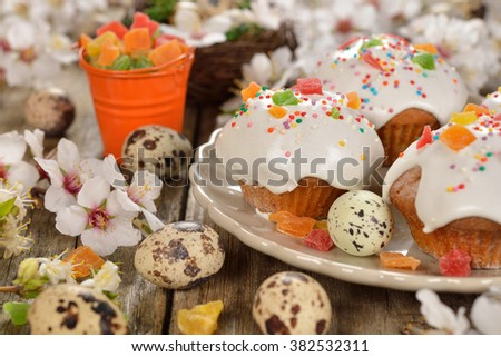 Easter buns on wooden background - stock photo