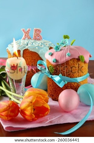 Easter cake and decoration with eggs - stock photo