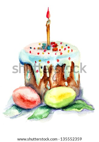 Easter cake and easter egg, watercolor illustration