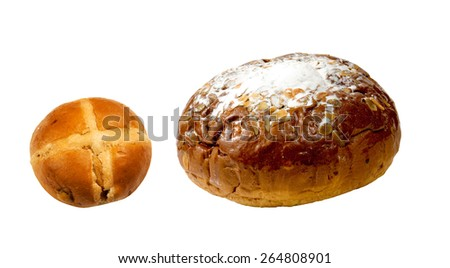Easter Cake and hot cross Bun - stock photo