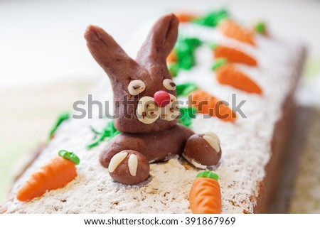 easter cake with an easter bunny from marzipan